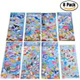YUEAON colorful animal fish stickers sea world ocean sticker-300+counts/8sheets-foam shark sticker-3D THICKER-small and cute-gift for kids