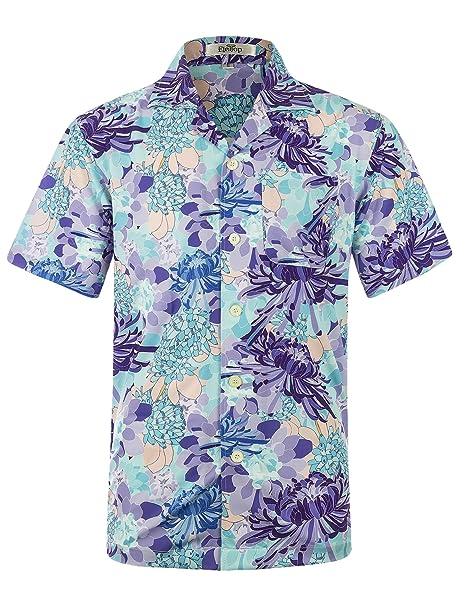 cba062cd ELETOP Men's Hawaiian Shirt Short Sleeve Aloha Shirt Beach Party Flower Shirt  Holiday Casual Shirts EHS024