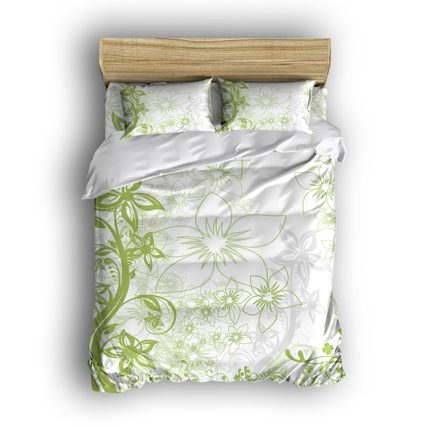 Modern-Home Bedding Sets 4 Piece Simple Vines Green Flowers Printed Bed Set Reversible Comforter Set Super Soft 1 Flat Sheet 1 Duvet Cover and 2 Pillow Cases (Twin Size)