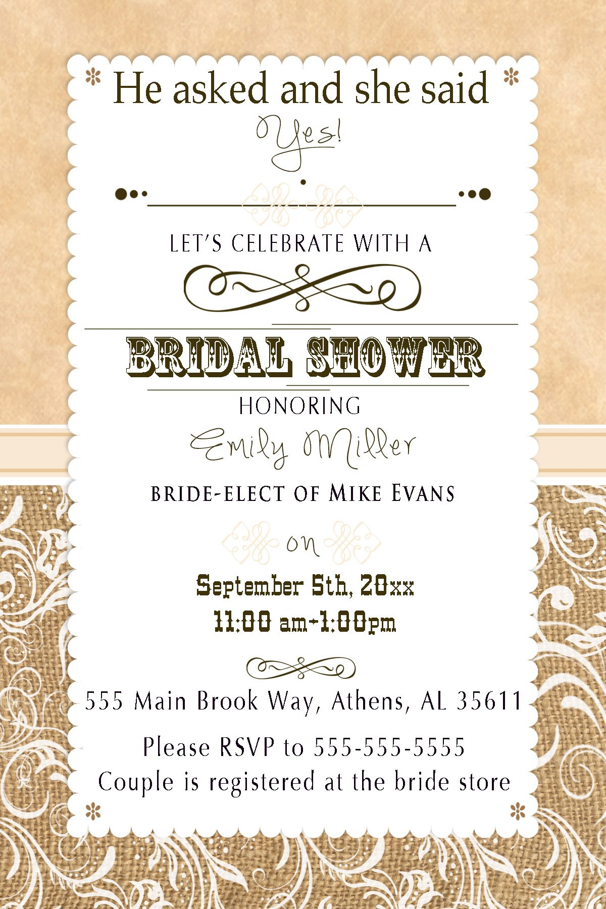 30 Invitations Brown Rustic Country Style Burlap Vintage Design Bridal Shower Party Personalized Cards + 30 White Envelopes