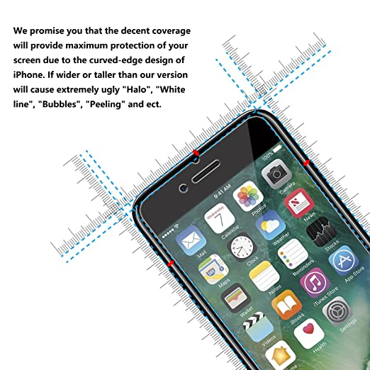 Amazon.com: IPhone 7 Screen Protector, PLESON [2 Pack] [Updated Version]  IPhone 7 Tempered Glass Screen Protector, [0.3mm] HD Clear 9H Bubble Free  Glass ...