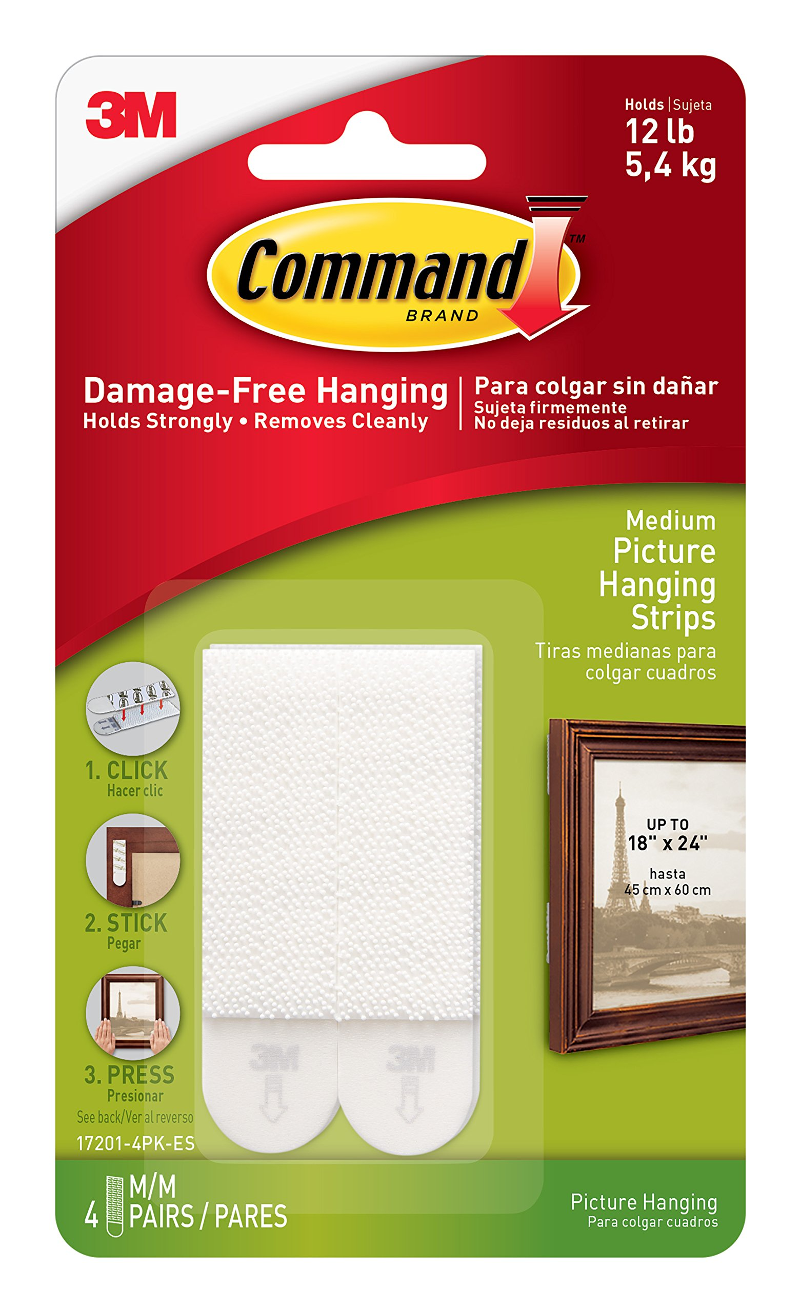 Command 12 lb Picture Hanging Strips, Medium, 6-packages (24 pairs total) (17201-4PK-ES)