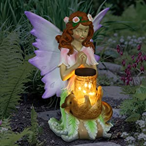 "Exhart Solar Wish Fairy Statue with LED Firefly Lights Glass Jar and Flower, Holding a Mason Jar–Fairy Décor for Garden, Yard & Patio 10"" Inch"