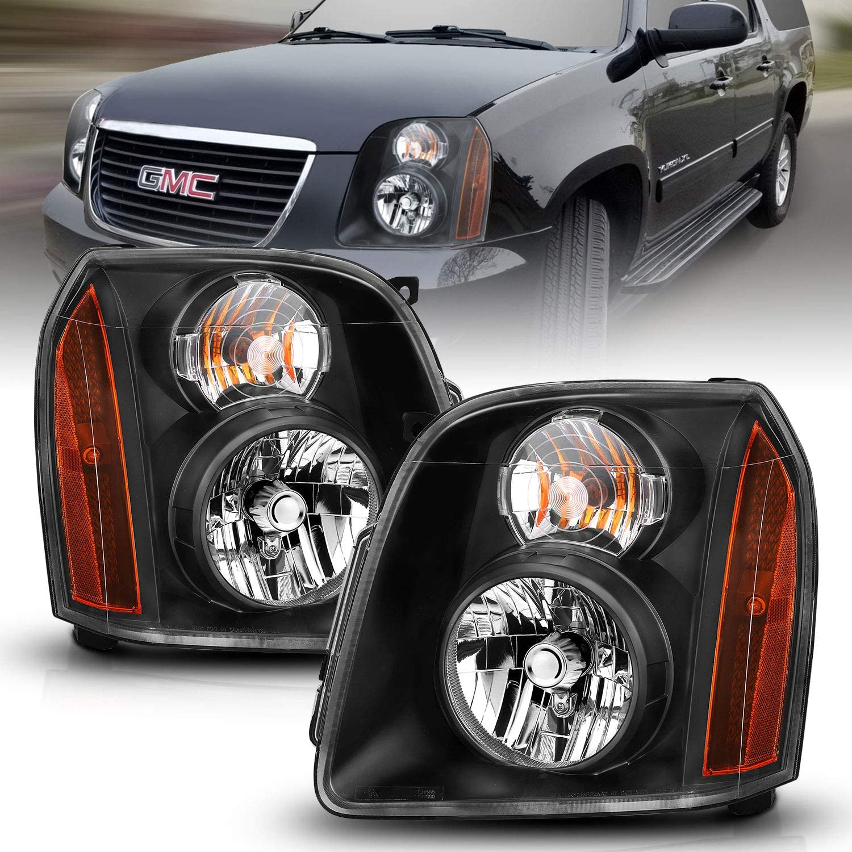 For GMC 07-14 Yukon Denali XL LED Black Projector Headlights Lamps Left+Right