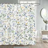 Fabric Floral Shower Curtain, Blue and Yellow Colorful Flowers Shower Curtains Set Season Floral Green Leaves Botanical Bathr