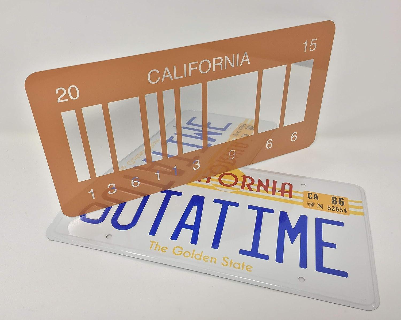 OUTATIME Retour /à lavenir 1 plaque dimmatriculation et Retour vers lavenir 2 Plaque dimmatriculation /à code-barres miroir 2015 comme on la vu sur Marty McFly et Doc Browns DMC-12 Delorean