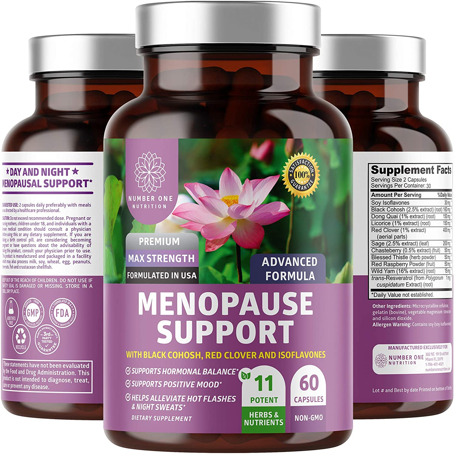 N1N Premium Menopause Support for Women [12 Potent Ingredients] All Natural Menopause Relief with Dong Quai and Black Cohosh to Reduce Hot Flashes, Night Sweats and Hormonal Imbalance, 60 Veg Caps