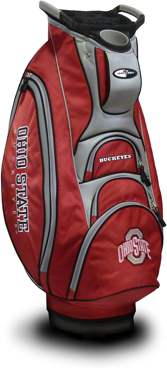 Team Golf NCAA Ohio State Buckeyes Victory Golf Cart Bag, 10-way Top with Integrated Dual Handle & External Putter Well, Cooler Pocket, Padded Strap, Umbrella Holder & Removable Rain Hood : Sports & Outdoors