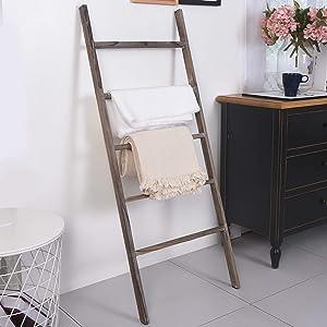 "RHF 48"" Blanket Ladder,Decorative Ladder Shelf,Leaning Shelf,Decorative Ladder for Bathroom, Ladder Shelf Stand, Rustic Farmhouse Wood Ladder,Ladder Shelves,Brown,No Assembly Required (4 Ft, Brown)"