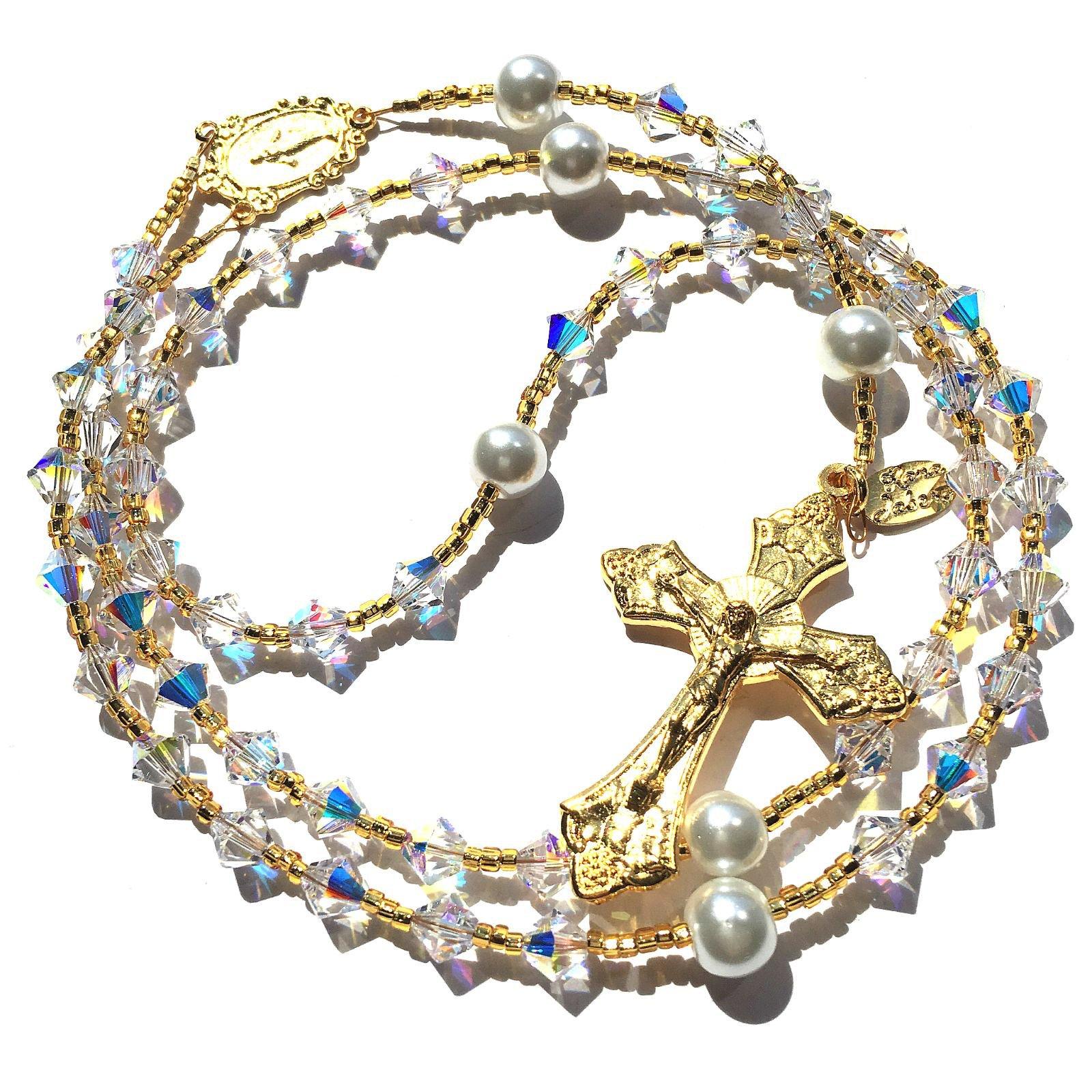 Gold (Plated) Birthstone Catholic Prayer Rosary Beads Made with Genuine Crystals from Swarovski and White Glass Pearls - Keepsake Birthday Christmas Communion Baptism Gift (Crystal AB (Iridescent)) by Rana Jabero