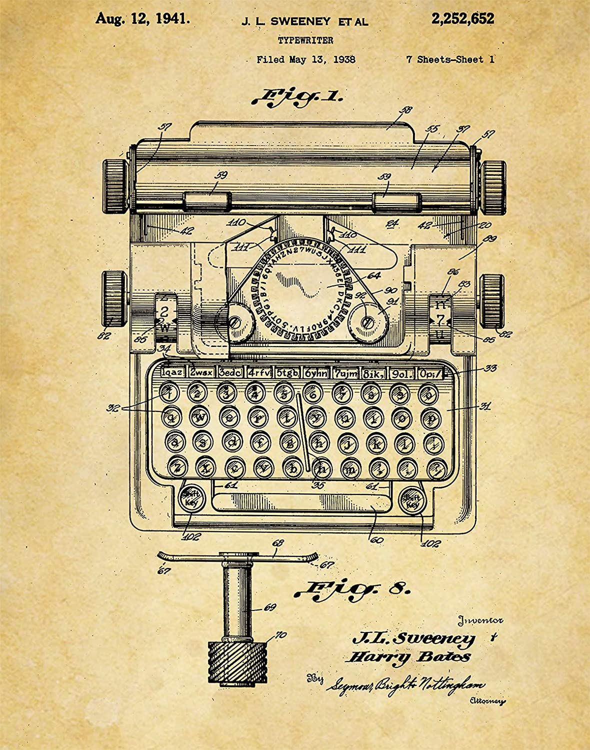 Amazon.com: Typewriter Patent Wall Art Print - one (11x14) Unframed ...
