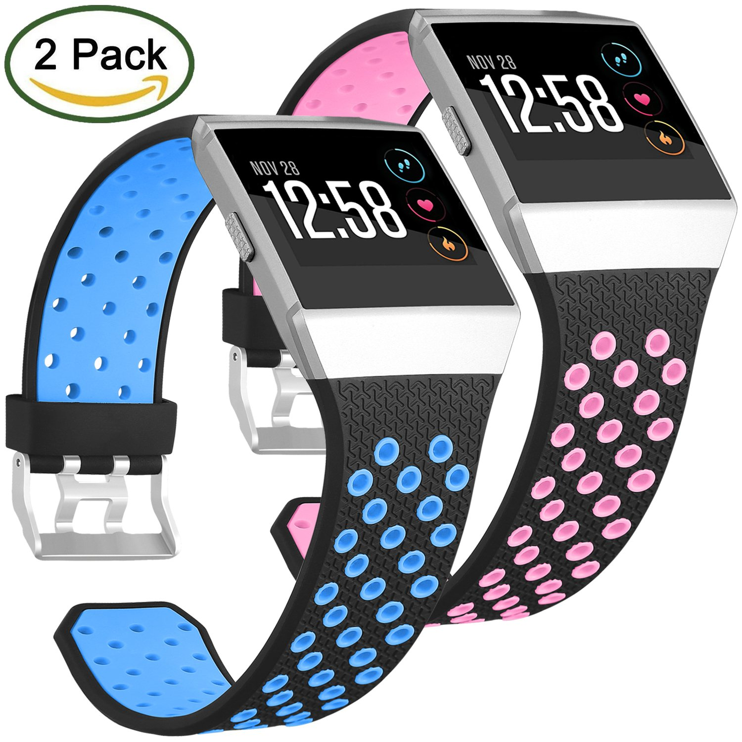 For Fitbit Ionic帯、Skylet 2パックソフト通気性アクセサリーWristbands for Fitbit Ionicブレスレットwith Buckle (トラッカーなし)  2PC: Black-Blue&Black-Pink 6.3-9.3 Inches/160-235mm B078JHSGCM