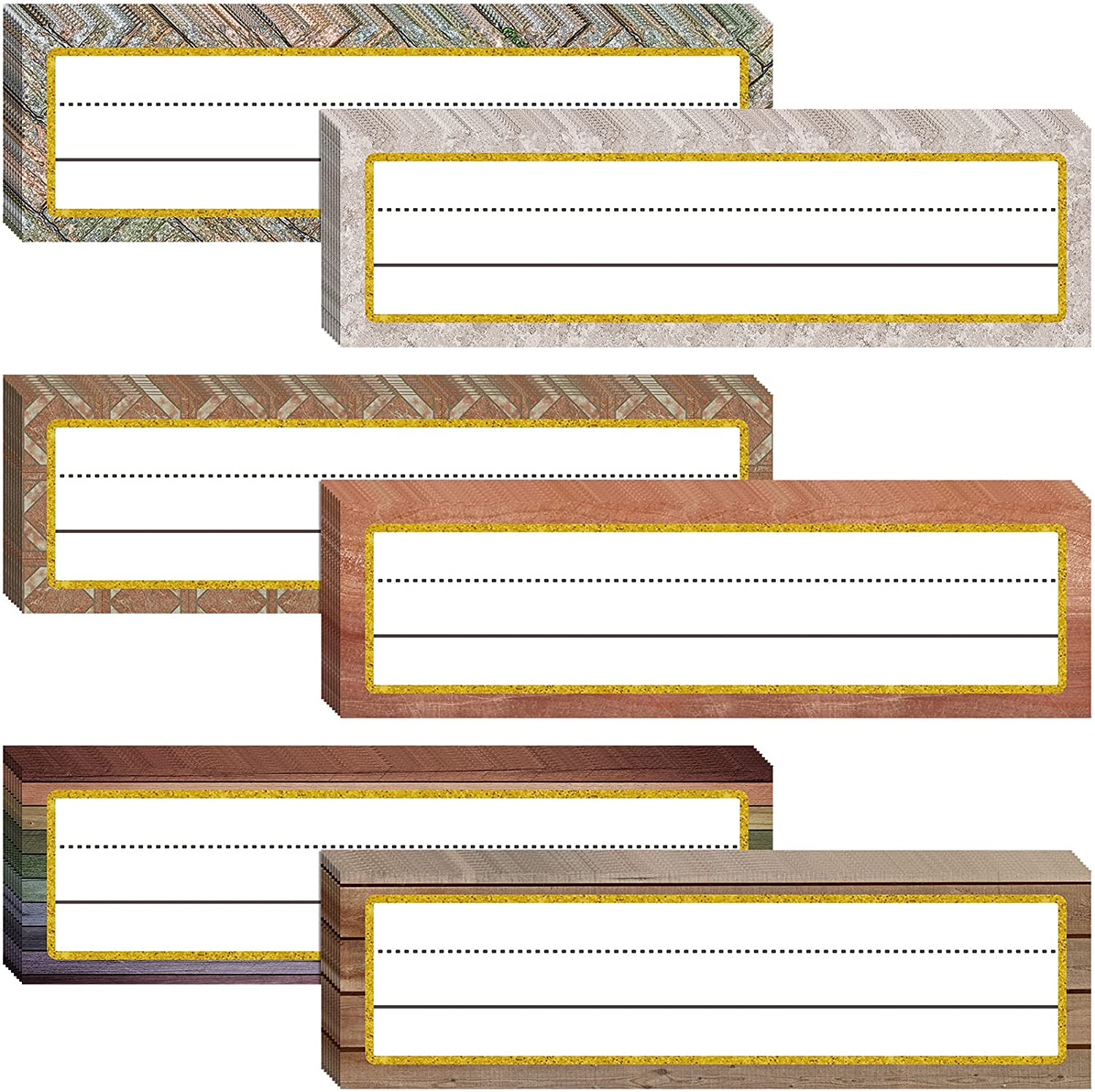 48 Pieces Rustic Name Plates for Desk Industrial Name Tags Labels Stickers Self-Adhesive Labels Bulletin Board Farmhouse Classroom Decoration for Classroom Desk Office Supplies, 11.8 x 3 Inches
