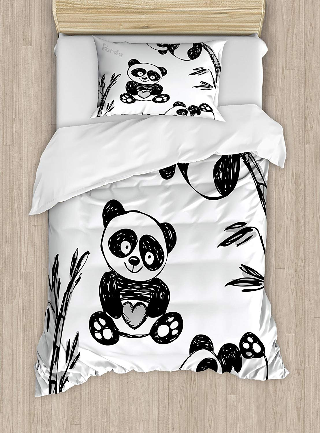 Arrow Duvet Cover Set,Cheerful Panda Different Poses with Bamboo Branch Children Painting Art Print,Cosy House Collection 4 Piece Bedding Sets
