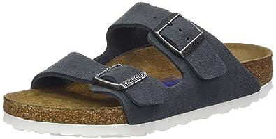 2dc3a120aa9fea BIRKENSTOCK Unisex-Erwachsene Arizona Leder Softfootbed Pantoletten Grau  (Stone) 35 EU