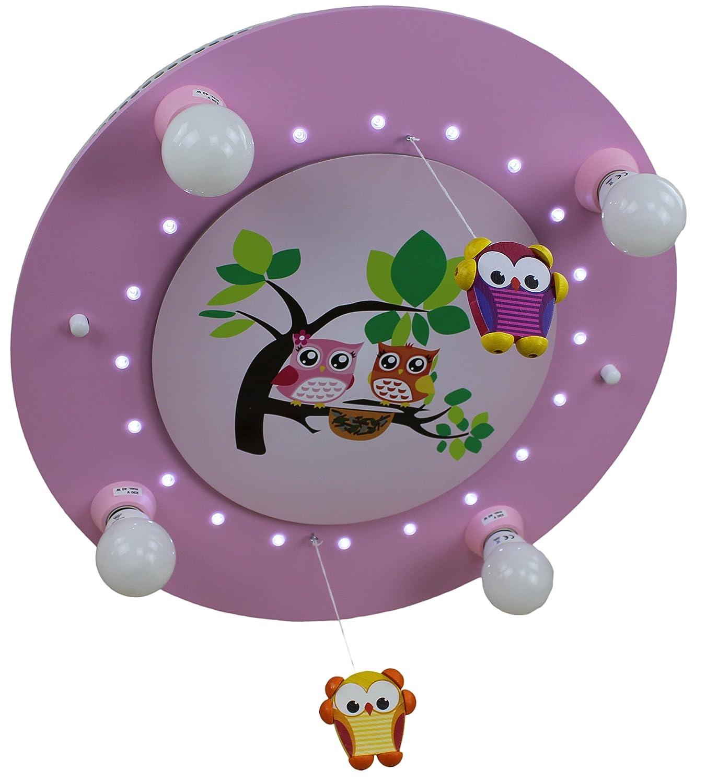 Elobra Kinderleuchte Kinderlampe - LED Eulenfamilie rosa 4-flammig - Deckenleuchte - Restposten Lagerräumung