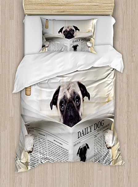 Amazoncom Ambesonne Pug Duvet Cover Set Twin Size Puppy Reading