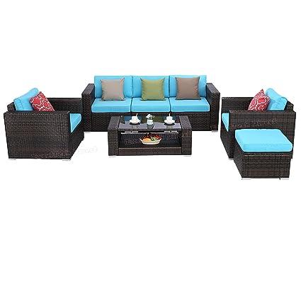 Strange Do4U Pe Rattan Wicker Sofa Set 7Pcs Outdoor Backyard Patio Garden Sectional Furniture Set Brown Rattan Turquoise Cushion Ncnpc Chair Design For Home Ncnpcorg