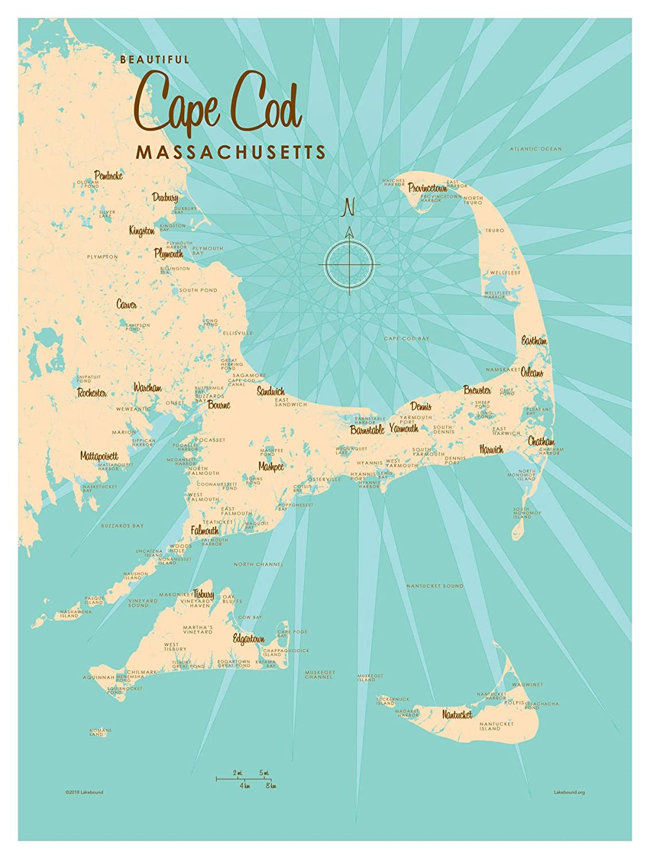 Amazon.com: Cape Cod Massachusetts Map Vintage-Style Art ...