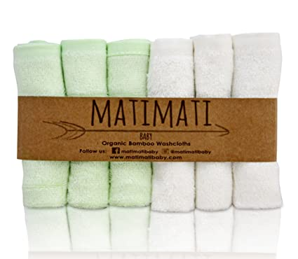 """Matimati Bamboo Baby Washcloths (6-pack) - Premium Extra Soft & Absorbent Towels For Baby's Sensitive Skin - Perfect 10""""x10"""" Reusable Wipes - Excellent Baby Shower / Registry Gift"""