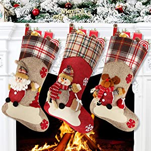 """Aitey Christmas Stocking, 18"""" Set of 3 Santa, Snowman, Reindeer, Xmas Character 3D Plush with Faux Fur Cuff Christmas Decorations and Party Accessory (Short Hat2)"""