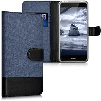 kwmobile Funda para Huawei P8 Lite (2017) - Carcasa de Tela y [Cuero sintético] - con Tapa y [Tarjetero] [Azul Oscuro/Negro]