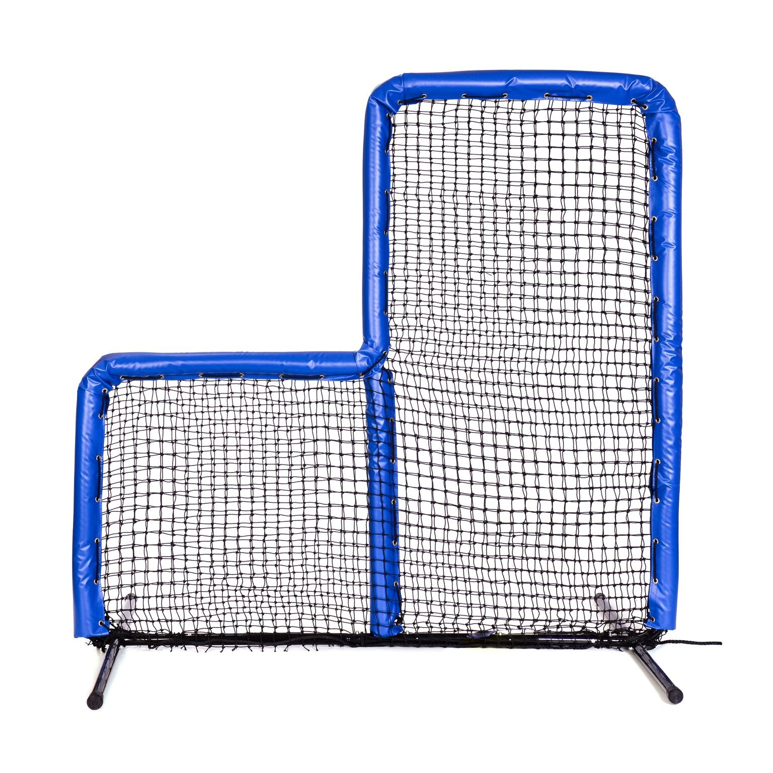 Armor Series Pitching Screen Baseball Softball Practice Net with Screen Bulletz Leg Caps. 7x7 L-Screen Perfect for Baseball and Softball Batting Practice. Choose Padding Color. (Royal) by Armor