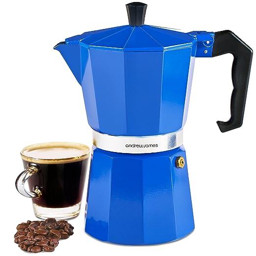 Andrew James Stove Top - Cafetera de espresso Moka Pot en azul ...