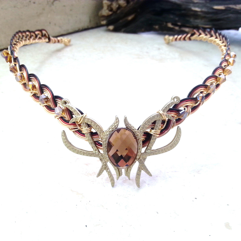 Champagne Oracle Gem Elven Circlet Tiara Crown Celtic Weave Gold