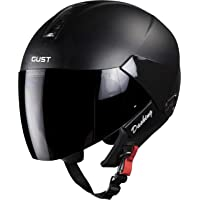 Steelbird SB-33 7Wings Gust Dashing Open Face Helmet (Large 600 MM, Black with Smoke Visor)