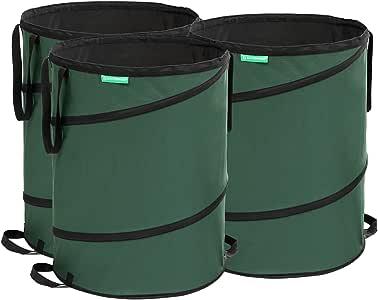 SONGMICS GTS160L - Juego de 3 Sacos de jardín (Reutilizables, Plegables, Resistentes a la Rotura, 160 L), Color Verde Oscuro: Amazon.es: Jardín