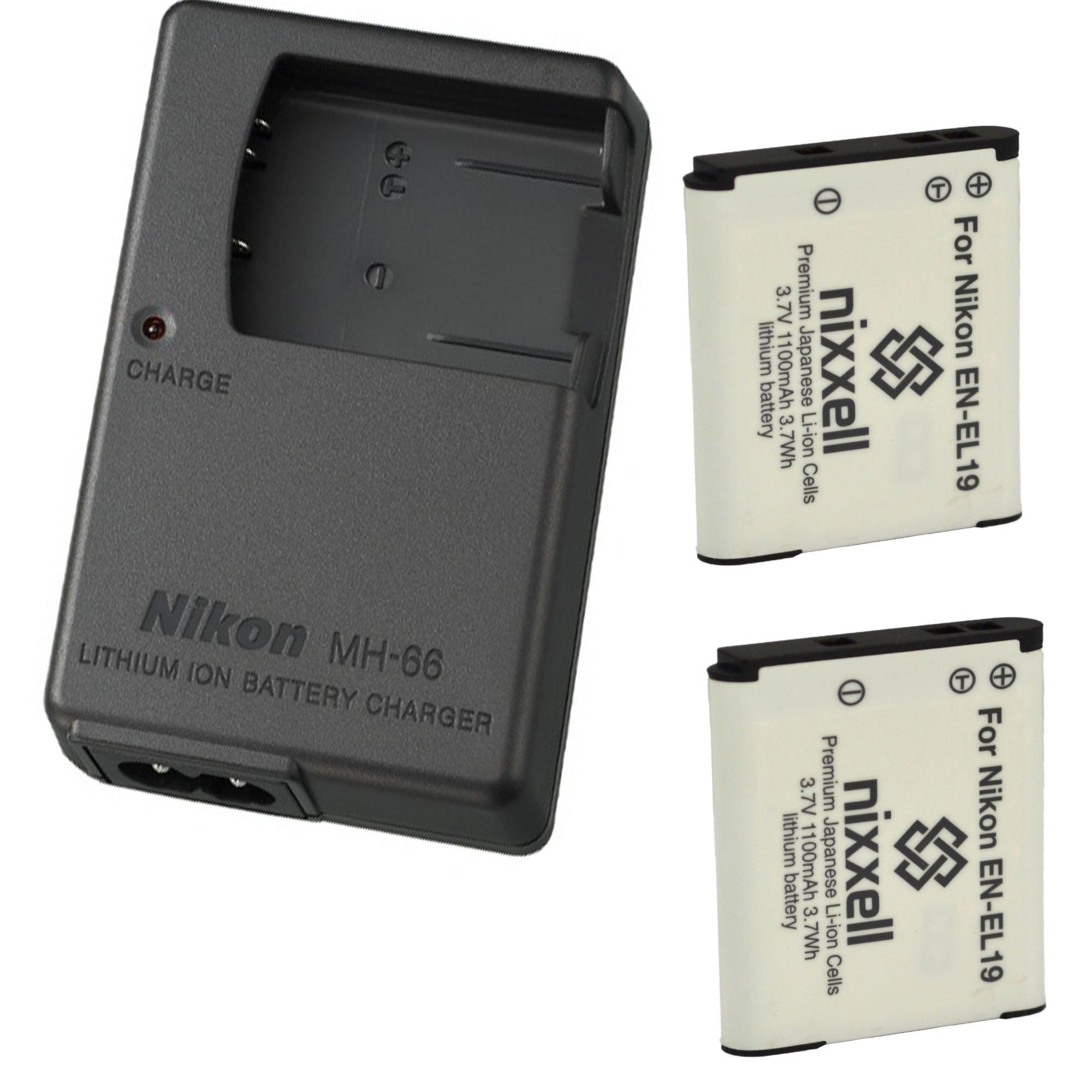 Nikon MH-66 Charger for Nikon EN-EL19 Coolpix S100, S3100, S3200, S3300, S3500, S3600, S3700, S4100, S4200, S4300, S5200, S5300, S6400, S6500, S6800, S6900, S7000 Digital Camera + 2 Bonus Battery!