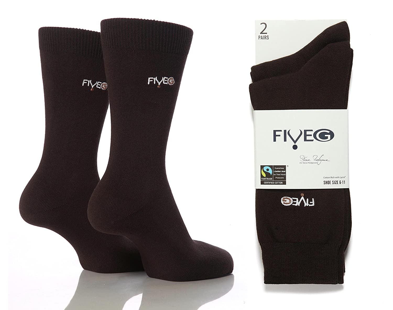 6 pairs Mens FiveG Plain Trouser Socks made with Fairtrade Cotton 6-11 uk 39-45 eur