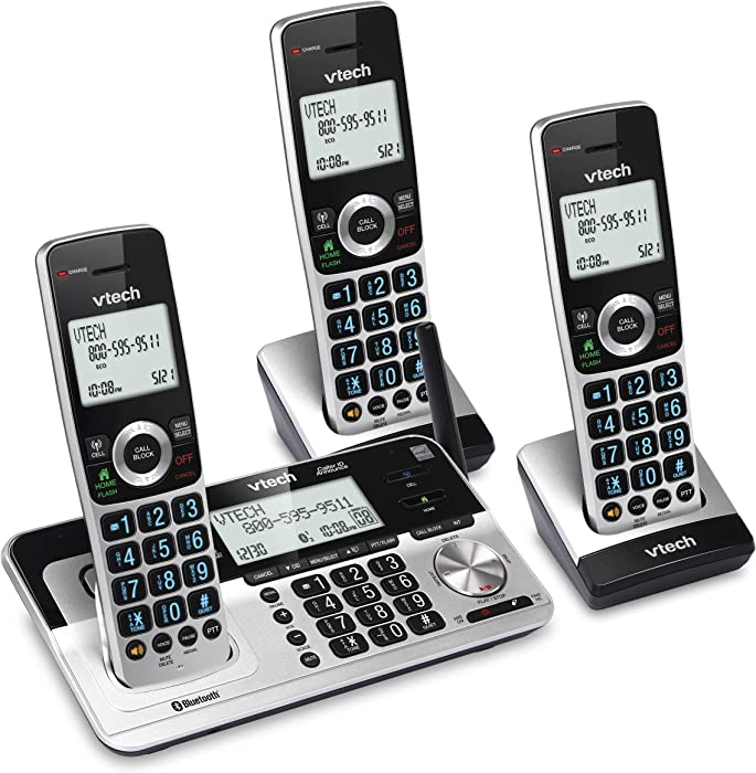 "VTech VS113-3 Extended Range 3 Handset Cordless Phone for Home with Call Blocking, Connect to Cell Bluetooth, 2"" Backlit Screen, Big Buttons, and Answering System, Silver & Black"