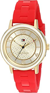 Tommy Hilfiger Womens Quartz Silver and Gold and Silicone Casual Watch, Color:Red (