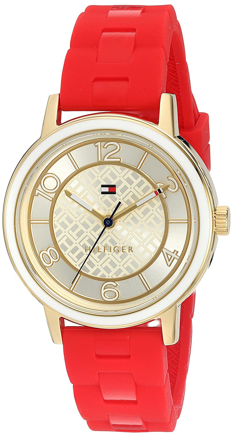 Amazon.com: Tommy Hilfiger Womens Quartz Silver and Gold and Silicone Casual Watch, Color:Red (Model: 1781668): Watches