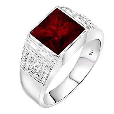d1c303967e Men s Sterling Silver .925 Ring with Red Square Center Stone with Two White  Cubic Zirconia (CZ) Stones