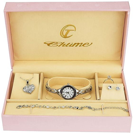 Caja de Regalo Reloj Mujer - Juegos de Joyas- Collar-Anillo- Pendientes -  Pulsera  Amazon.es  Relojes ac5700d3c7b9