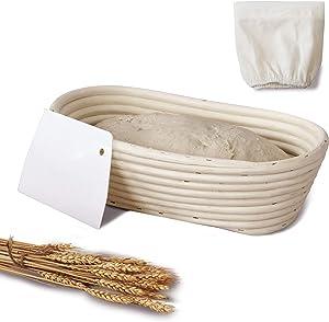 Oval Banneton Proofing Baskets for Sourdough Bread | Oval & Baguette Wicker Cane Brotform Set for Batards with Cloth Liner | Food-Safe Cane Bread Proofer for Rising (1, 10