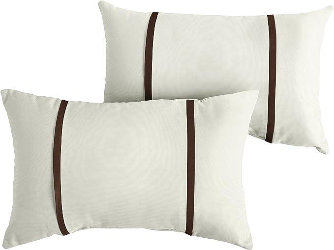 Mozaic Company Amps114623 Indoor Outdoor Sunbrella Lumbar Pillows Set Of 2 12x18 Canvas Natural Ivory Canvas Brown Garden Outdoor