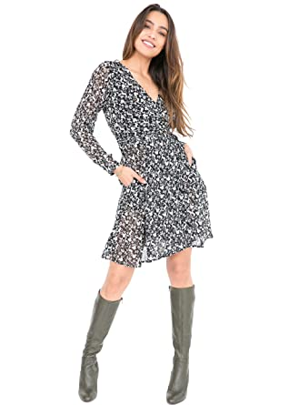 f90d6a6687 likemary Long Sleeve Double Layer Printed Wrap Dress Forest Print S