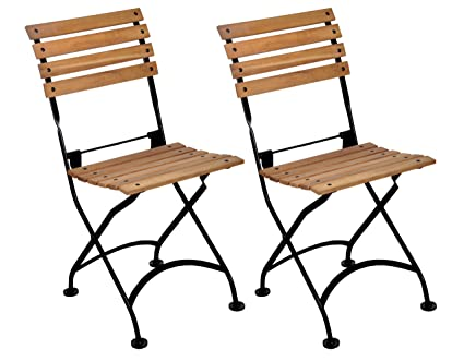 Mobel Designhaus French Café Bistro Folding Side Chair, Jet Black Frame,  African Teak Wood