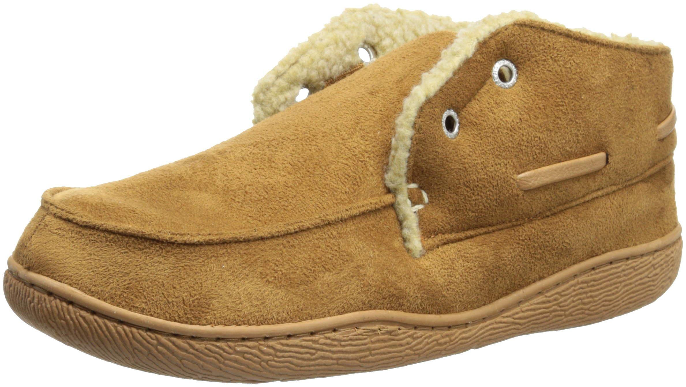 Dockers Men's Slipper Boot with Warm, Synthetic Sherpa Lining, Tan, 9.5-10.5 L