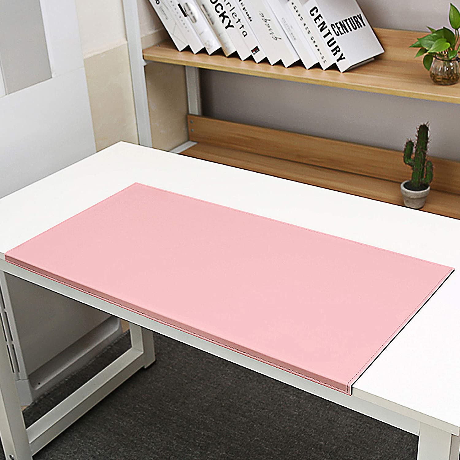 """Non-Slip Soft Leather Surface Office Desk Mouse Mat Pad with Full Grip Fixation Lip Table Blotter Protector 27.55/""""x 15.8 Leather Pad Edge-Locked"""