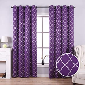 Anjee Blackout Curtains 84 Inch Length for Living Room with Rhombus Pattern, Blackout Window Drapes with Grommet Top for Light Blocking and Noise Reducing, 52 x 84 Inches, Purple