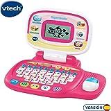 VTech Pequeordenador, Juguete para aprender en casa, ordenador infantil con más de 20 actividades que enseñan letras, números, animales, lógica y música, color rosa (80-155457)