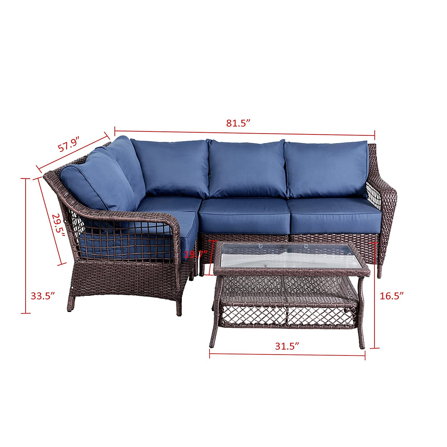 Amazon Com 5pc Outdoor Pe Wicker Rattan Sectional Furniture Set
