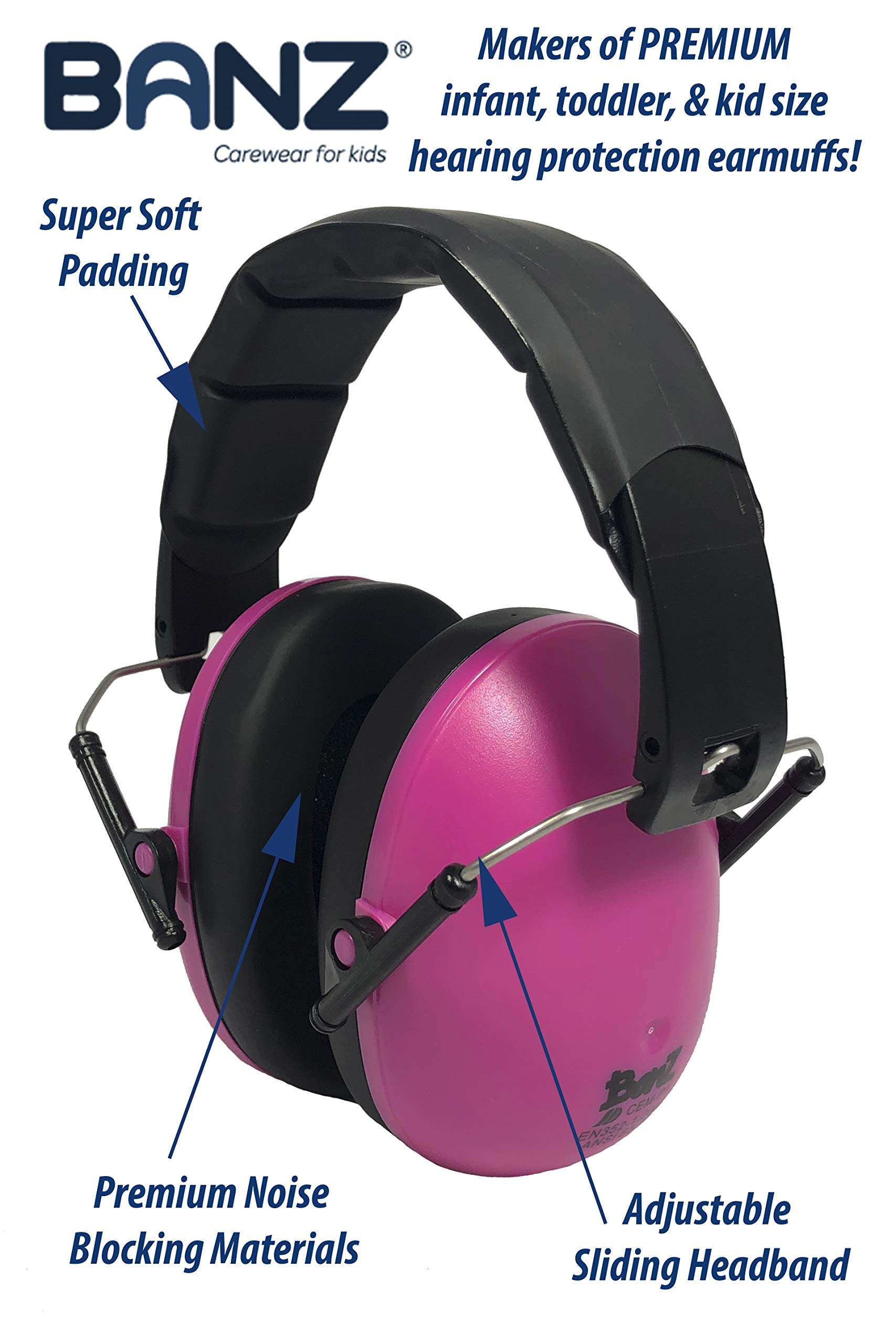 Baby Banz Earmuffs Kids Hearing Protection - Ages 2+ Years - THE BEST EARMUFFS FOR KIDS - Industry Leading Noise Reduction Rating - Soft & Comfortable - Kids Ear Protection, Magenta