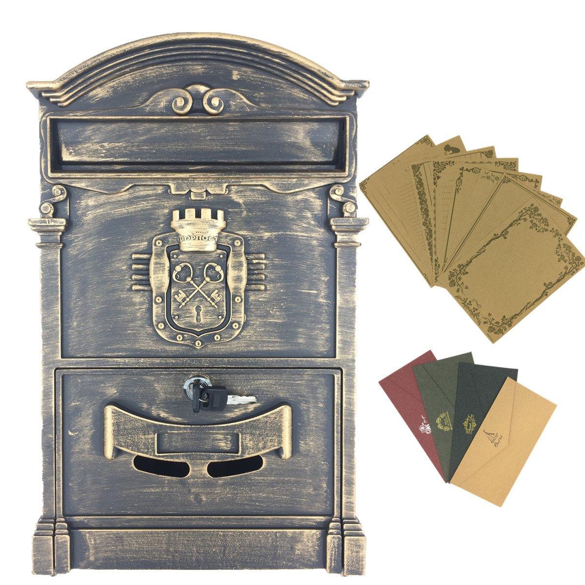 yahead exterior buzó n Retro Vintage Europea caja de aluminio montado en la pared caja de correos –  buzó n seguro fuera buzones con 8pcs Retro escritura papelerí a papel y 4pcs sobres