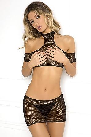 cc51b076d7e Rene Rofe Women Sexy Lingerie Off Shoulder Crop Top Choker   Sheer Mini  Skirt (Small